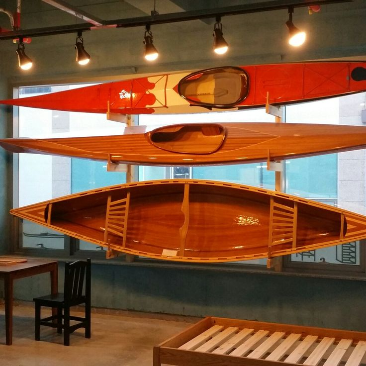 Wooden canoe, kayak & table, bed