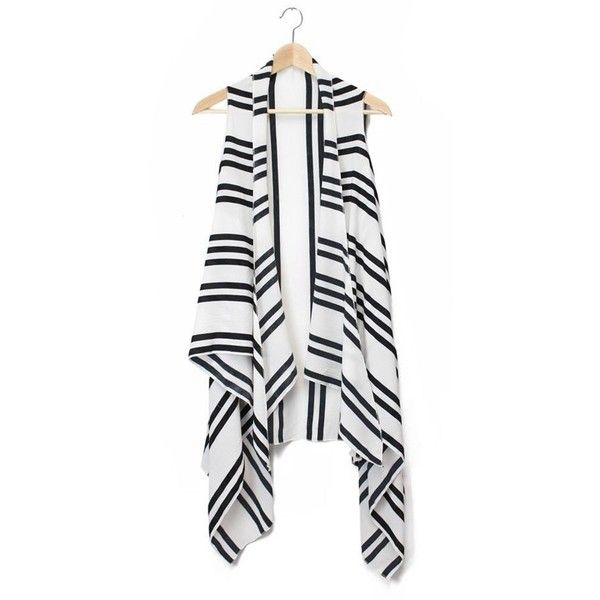 Just Jewelry Stripe Kimono Vest - black/white ($20) ❤ liked on Polyvore featuring outerwear, vests and kimono robe