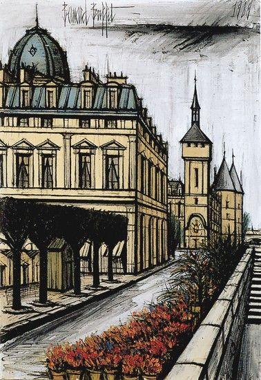Bernard Buffet - Le marché aux Fleurs et le Palais de Justice - 1989, oil on canvas - 130 x 89 cm