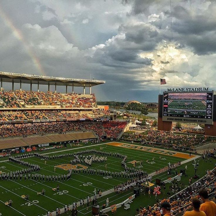 Gorgeous rainy sky and rainbow over Baylor's McLane Stadium. #SicEm