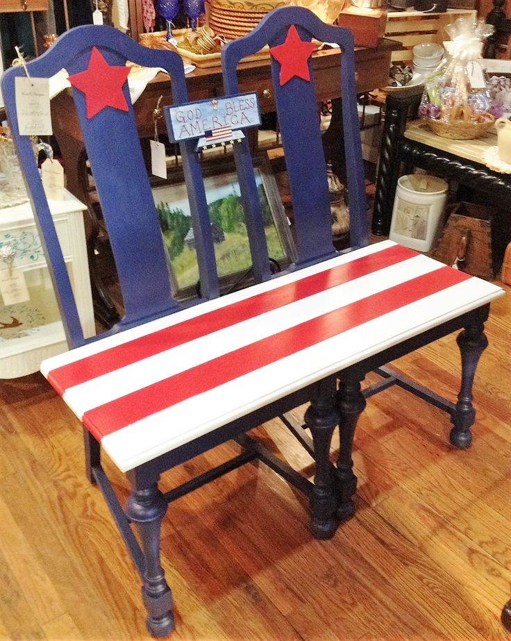 Red White And Blue Patriotic Chair Bench Shows Booths