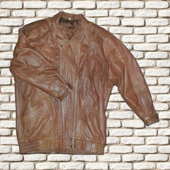 Tan Brown Leather Bomber Jacket by BessieMidge on Etsy, £25.00