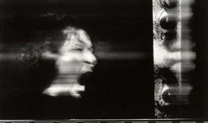 """Paolo Gioli, """"Volto attraverso gli occhi di Pasolini"""", 1995 fotofinish, stampa in bianco e nero, misure variabili"""