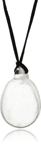 """tre """"Coppa"""" Clear Glass Pendant Necklace tre. $125.00. Each handmade glass pendant is uniquely shaped. Clear glass pendant on silver chain. Silver chain. Made in China"""