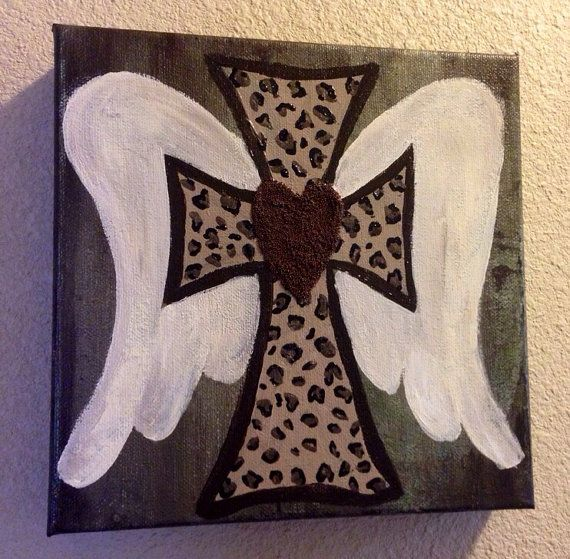 Pretty cross heart and wings  on Etsy, $20.00