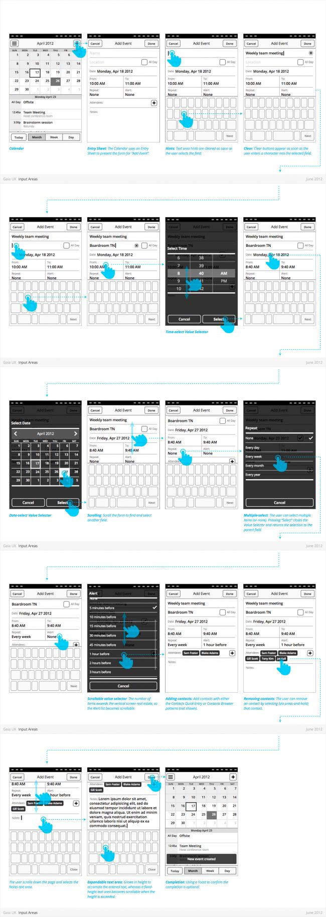 Firefox OS (Gaia) Design Patterns #UX #wireframes #annotated #interactions