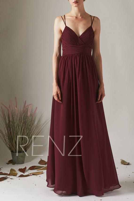 Hochzeitskleid Boho Lace Burgund Brautjungfer Kleid lange rückenfreie Spaghetti Strap Brautjungfern Kleider (H549A)