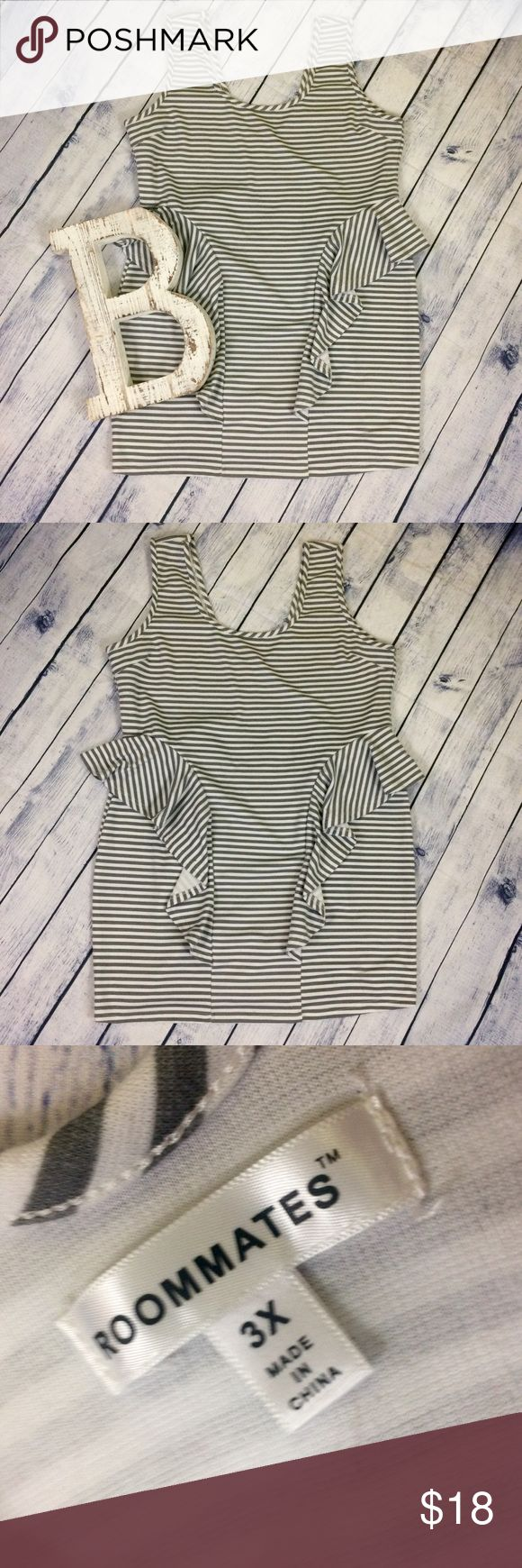 Plus size grey and white bodycon dress with ruffle Plus size grey and white stripes bodycon dress with ruffles!! Size 3x! Excellent condition! Has small make up stain inside neckline that cannot be seen when worn. Unique body contour dress! Mak me an offer! 20% off all bundles roommates Dresses Mini