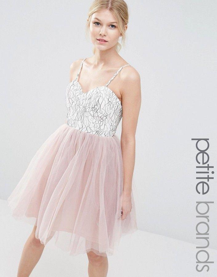 Boohoo Petite Lace & Tulle Prom Dress