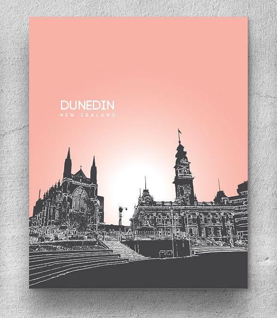 Dunedin New Zealand City Skyline Art / Travel City Wall Art Poster / Any City or Landmark