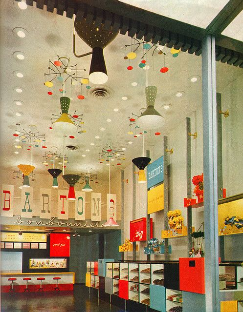 Interior of Barton's Bonbonniere from the 50's | Design consultant: Alvin Lustig - alvinlustig.com | Source - flickr.com/photos/sandiv999