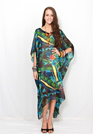 Amalfi long kaftan by LALOOM in 'papeete' print. Exotic, colourful wonderful summer design for the ultimate holiday