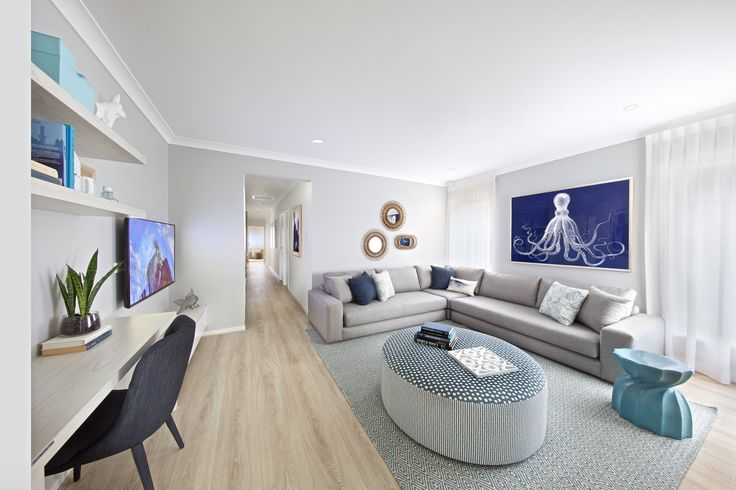 Clarendon Homes. Brighton 30. Hamptons styled living room with ocean blue hues.