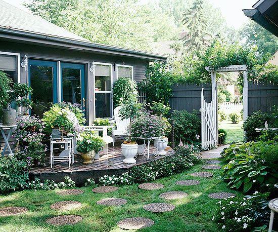 Circular Stepping StonesPlatform Decks, Gardens Paths, Back Yards, Step Stones, Outdoor Room, Lights Ideas, Private Retreat, Stepping Stones, Backyards