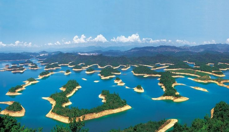 Qiandao Lake or the Thousand Island Lake is located in Zhejiang, China
