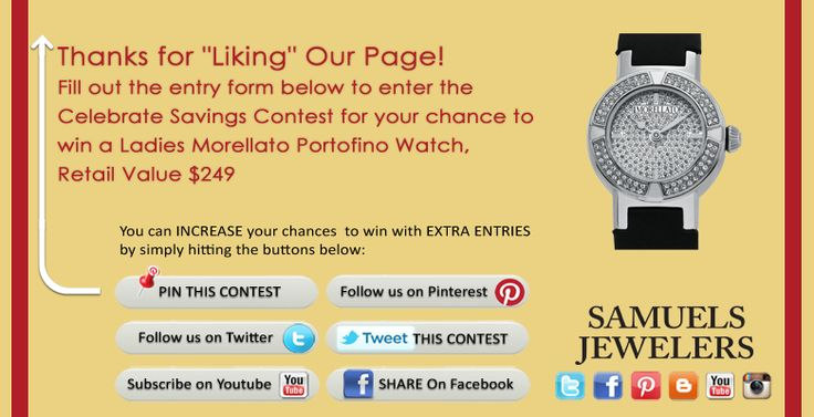 I just entered the Samuels Jewelers' 'Celebrate Savings Contest. Click this Pin to see how to enter to win a a Ladies Morellato Portofino Watch!