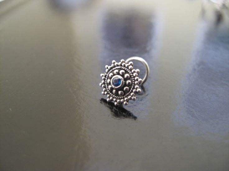 Nose Ring with Blue Zircon,Silver Nose Ring,Indian Nose Ring,Gypsy Nose Stud,Body Jewelry;Nose Piercing,Boho Jewelry,Tribal Nose Stud by RabariRajkumari on Etsy