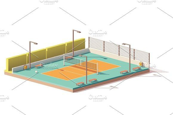 Vector Low Poly Volleyball Court Volleyball Parking Design Low Poly