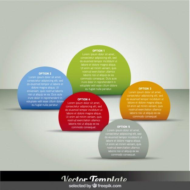 ファイブ円形インフォグラフィックのステップ無料ベクトル