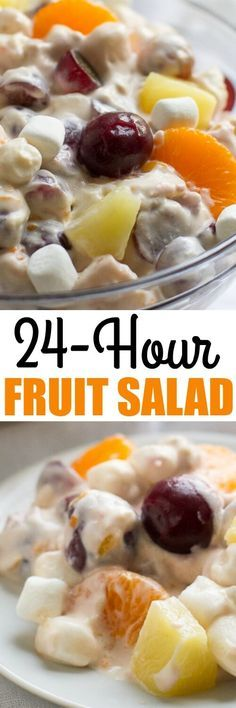 This classic 24 Hour Fruit Salad (a Midwestern holiday treat) has lots of fruit and marshmallows in a creamy lemon custard sauce. Make it the night before or up to 24 hours in advance!