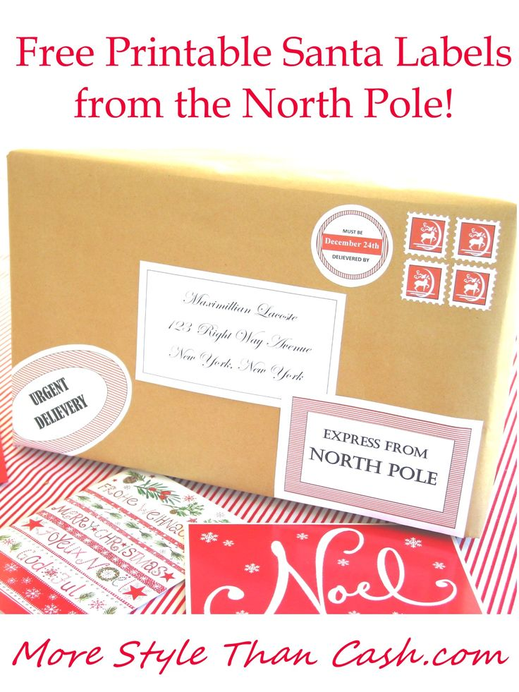 Print off these free Santa labels and make it look as if you got mail from the jolly old fellow himself!