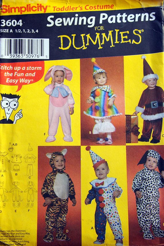 Toddlers' Costumes Size 1/2 1 2 3 And 4 By Simplicity