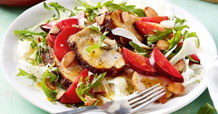 For a burst of freshness, add juicy sweet plums into the mix with this delicious spiced chicken salad.