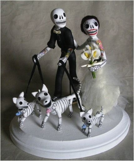 day-of-the-dead cake topper...totally perfect, the dogs look just like our dog, except for us it would just be the one!