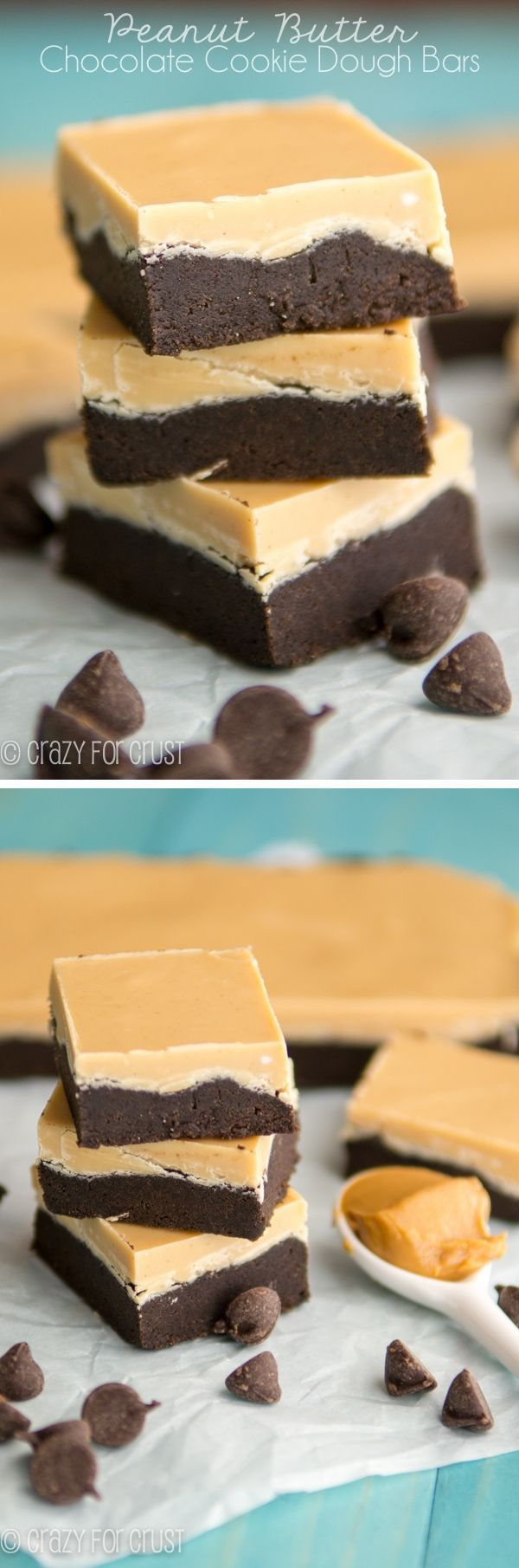 Peanut Butter Chocolate Cookie Dough Bars | http://crazyforcrust.com | Egg-less chocolate cookie dough pressed into a pan and topped with peanut butter!