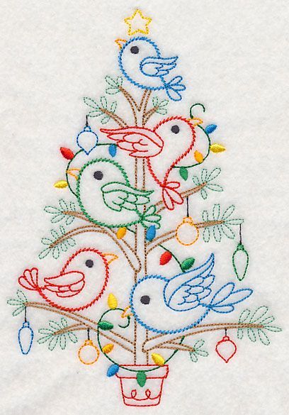 """Christmas Tweets Tree (Vintage)Product ID:L7710 Size:5.47""""(w) x 7.81""""(h) (139 x 198.3 mm)Color Changes:9 Stitches:12711Colors Used:9   ...   4 SIZES"""