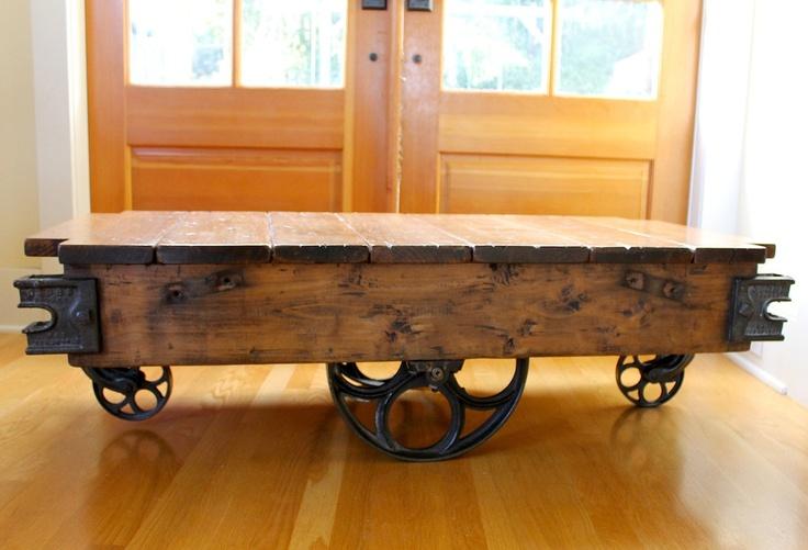 Vintage Warehouse Cart Coffee Table Western Maple 1 Via Etsy Diy Pinterest
