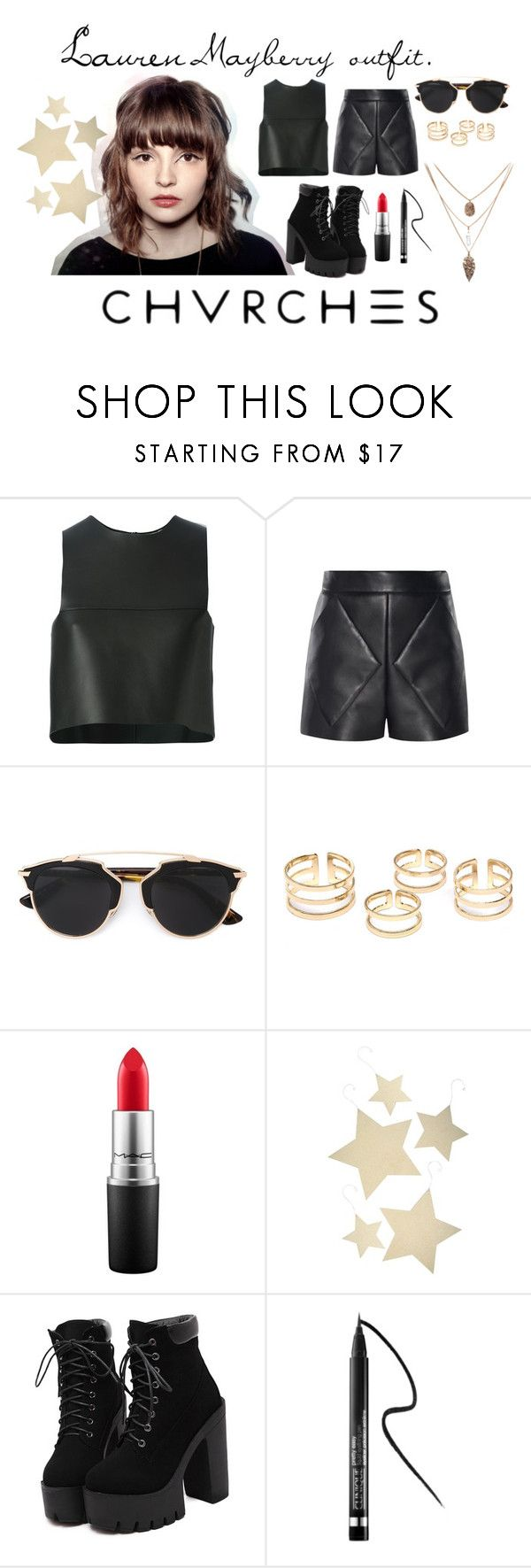"""""""Lauren Mayberry Inspired."""" by claudiadessi on Polyvore featuring Fendi, Balenciaga, Christian Dior, MAC Cosmetics, Bethany Lowe, Clinique, lauren and Chvrches"""
