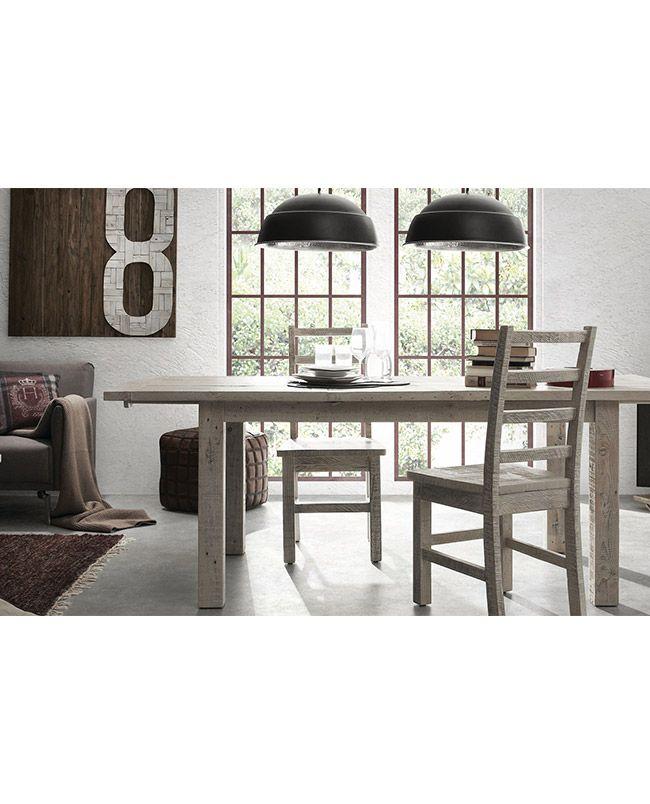 EPICEA Table extensible bois de pin gris clair finition peinture amande artisanal vieillie
