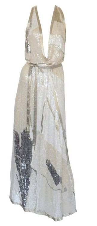 Vintage Halston Dress 70s Sequin Beaded Long Gown (via Dorothea Closet Vintage)