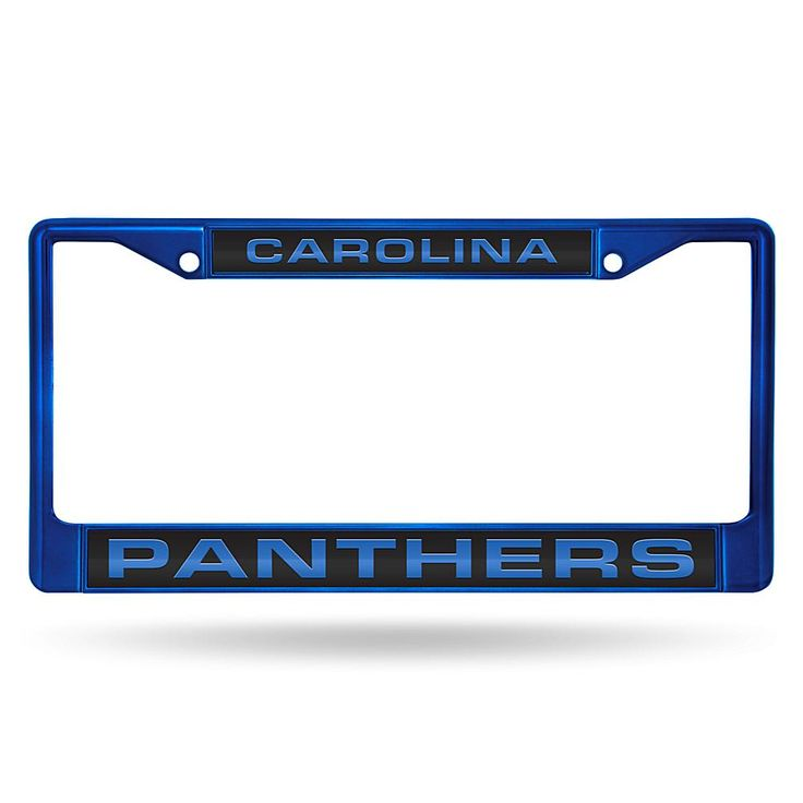 Officially Licensed NFL Laser-Cut Chrome License Plate Frame - Panthers