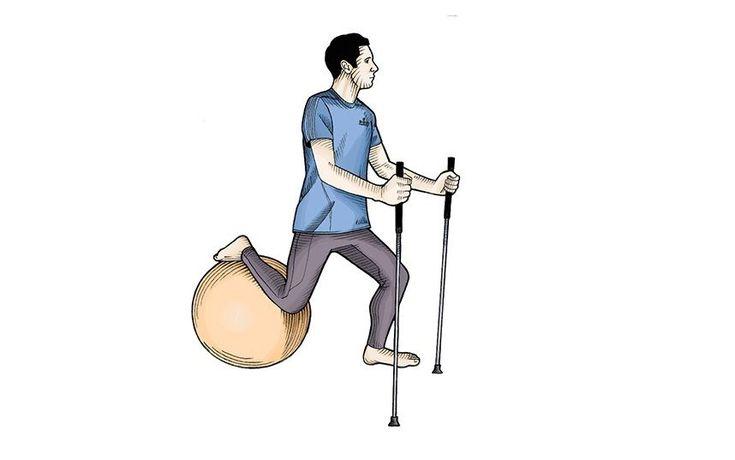 Afundo na bola  Com o pé esquerdo no chão e a perna direita sobre uma bola de exercícios, role a bola para trás e agache com a perna esquerda. Faça três séries de 25 movimentos com cada perna.  Se quiser deixar tudo mais difícil, deixe a perna da frente em uma plataforma inclinada. Mais difícil ainda: perna da frente em um disco de estabilidade.