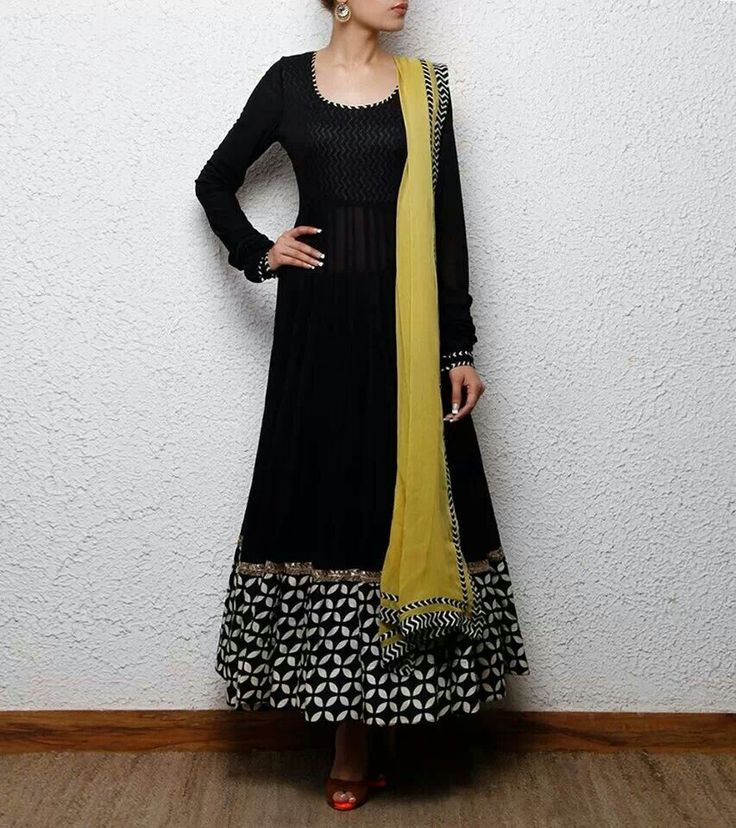 Black Anarkali suit with printed panel and yellow dupatta