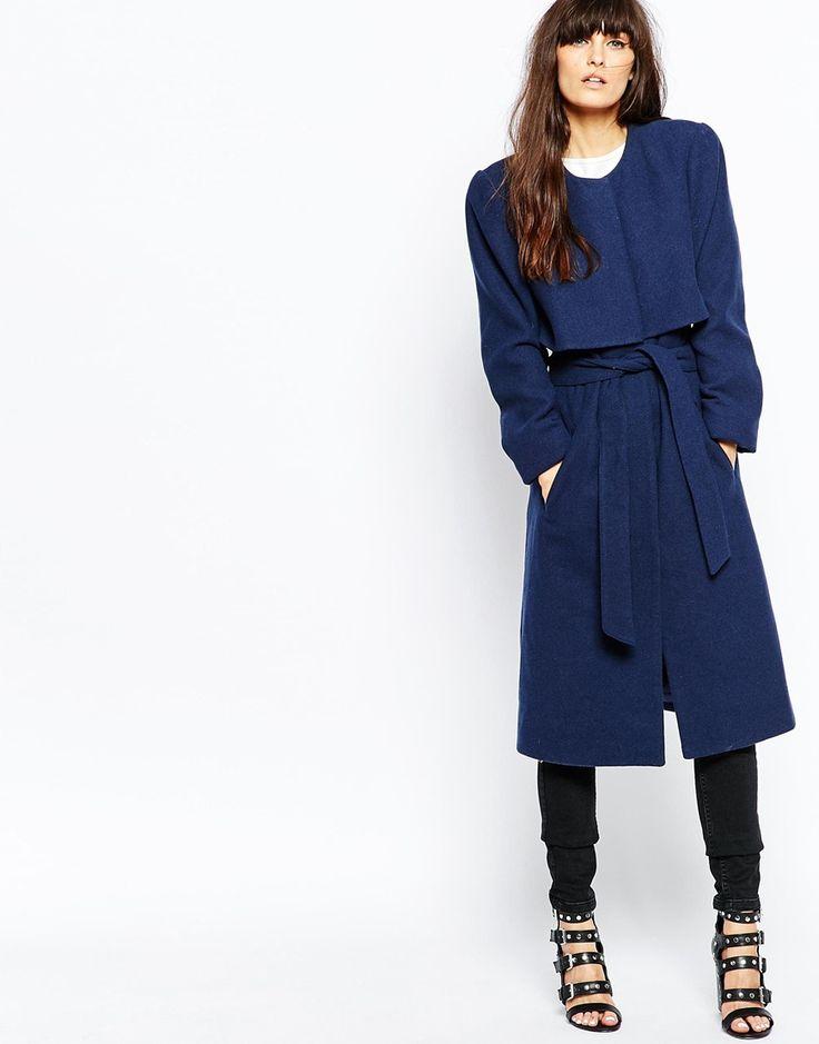 blauer mantel mit g rtel vero moda belted overlay coat asos fashion herbstm ntel. Black Bedroom Furniture Sets. Home Design Ideas