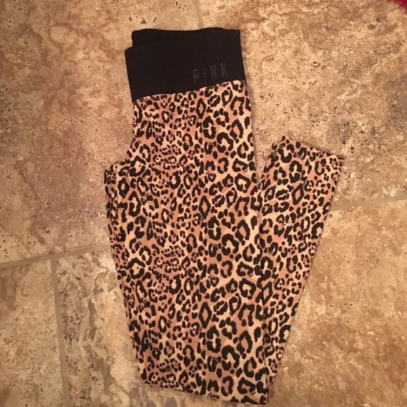 VS PINK cheetah leggings Still brand new just no tags, never worn never washed. They fit just like the yoga leggings but with a much funner design! PINK Victoria's Secret Pants