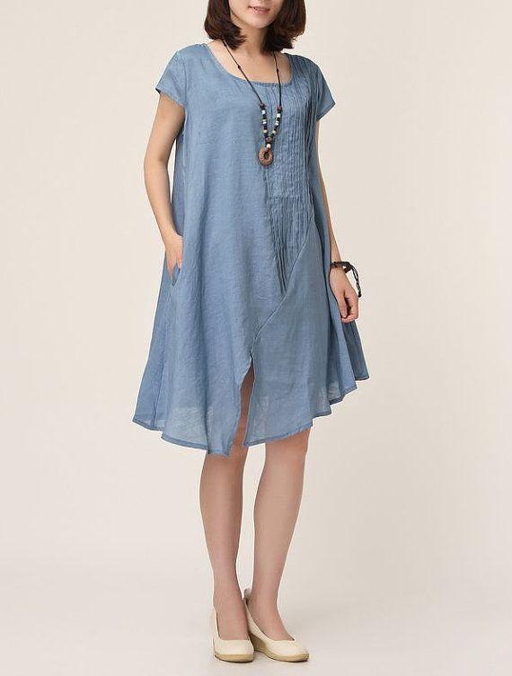 Blue Linen Dress Maxi Dress Short Sleeve By