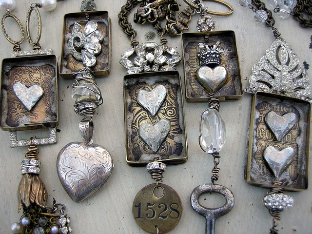 Heart boxes by Diana Frey, seen Up Close. #Mixed #media #jewelry