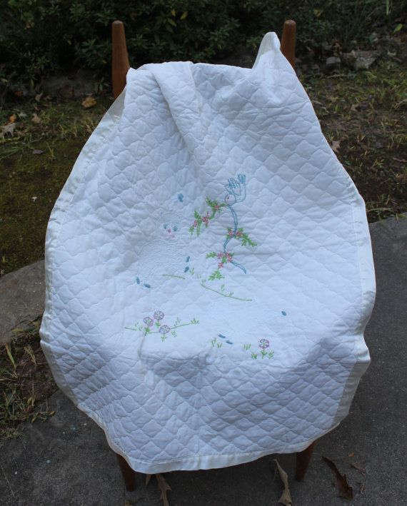 Silky Baby Crib blanket, embroidery Lambs, quilted baby carriage throw