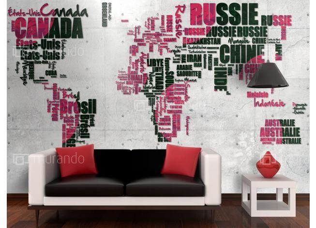 Mapa světa nápisy #homedesign #mapa #interierdecor