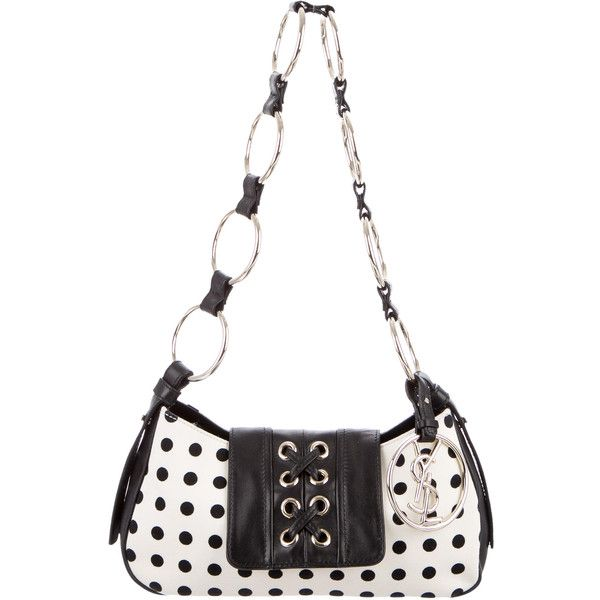 Pre-owned Yves Saint Laurent Polka Dot Lace-Up Bag (2,350 MXN) ❤ liked on Polyvore featuring bags, handbags, shoulder bags, black, chain strap handbag, chain shoulder bag, mini shoulder bag, polka dot handbags and polka dot purse