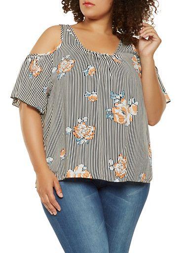 b6cc214075a43 Plus Size Floral Striped Cold Shoulder Top