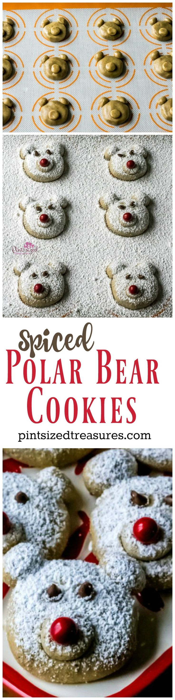 Spiced polar bear cookies are the CUTEST cookies in the world! These adorable, super-soft cookies will be a hit at your next holiday party!