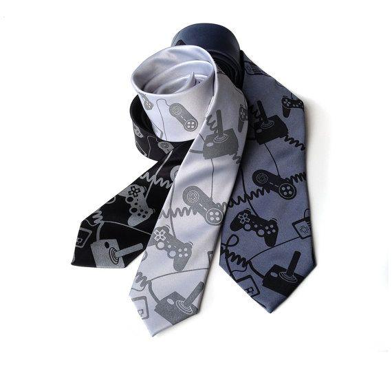 Joystick necktie. Video game controller tie. Geek by Cyberoptix