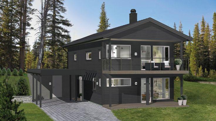 Samme stilrene Emilie, men på skrånet tomt. Denne moderne boligen er tydelig inspirert av funkisstilen.