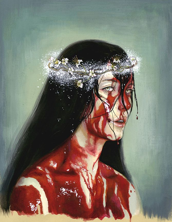 Tina Yu #bleaq #art #painting #woman #portrait #blood