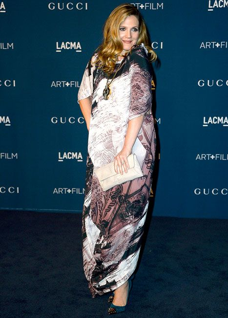 Happy news: Drew Barrymore is pregnant again! We love her (and her new bump!) in this long, flowy gown.